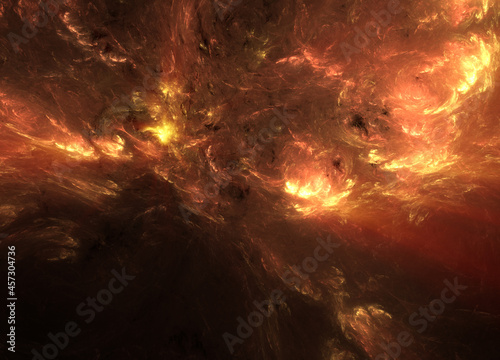 Photo Abstract fractal art background, suggestive of an oil painting of an erupting volcano, or a dramatic sunset sky over mountains