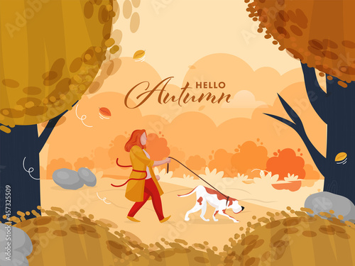Foto Hello Autumn Seasonal Background With Young Woman Walking Her Dog Illustration
