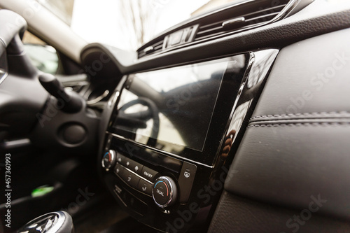 Fotografie, Obraz Modern car interior with dashboard and multimedia