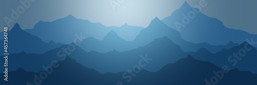 Obraz na płótnie Abstract illustration of mountains, ridge in the morning haze, panoramic view