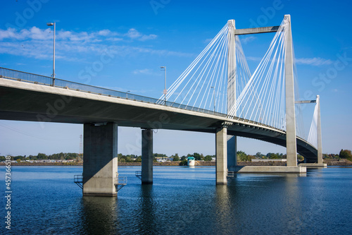 Cable-stayed bridge over Columbia river in Tri-Cities Washington State #457366518