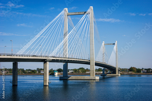 Cable-stayed bridge over Columbia river in Tri-Cities Washington State #457366531