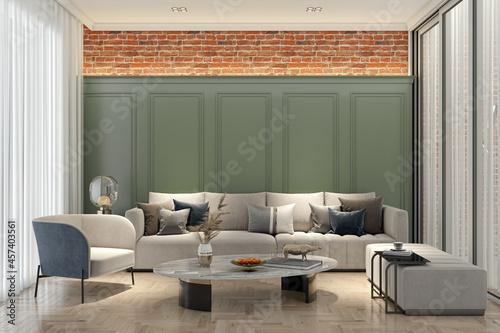 Obraz na plátně Illustration 3D rendering large luxury modern bright interiors Living room mocku