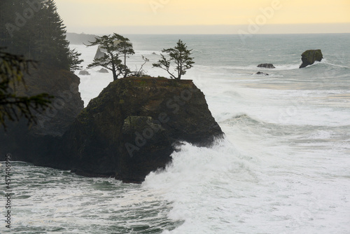 Waves Crashing Into A Sea Stack In Southern Oregon