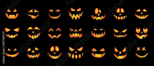 Fotografie, Obraz A set of creepy, scary emotions, emoticons for Halloween
