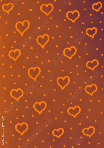 Pomarańczowe tło z serduszkami i kropkami.
