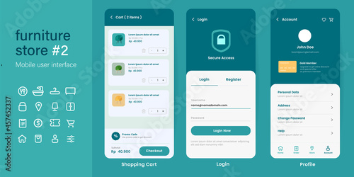Fototapeta UI user interface mobile app design layout interface of furniture online store e
