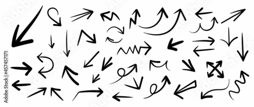 Fotografie, Obraz Hand drawn arrow mark icons vector
