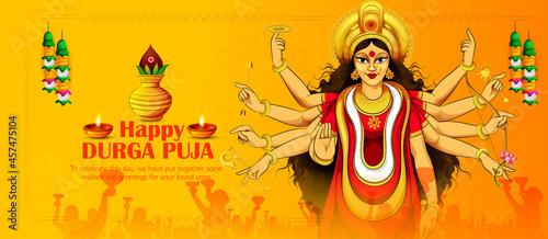 Photo illustration of Goddess Durga in Happy Durga Puja Shubh Navratri