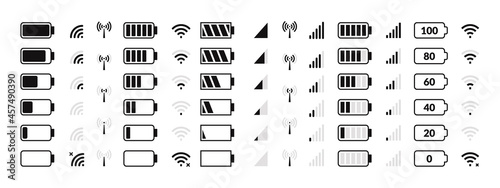 Battery icon. Cellular network, internet traffic and data transfer, smartphone status bar icons, battery charge level and GSM signal strength. Vector set