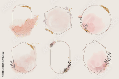 Geometric floral frame collection vector Fotobehang