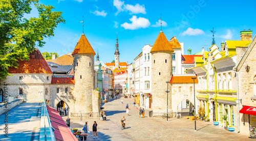 Fotografie, Obraz Viru Gate towers in Tallinn old town, Estonia