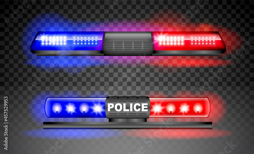 Fotografia realistic police siren light beacon flasher isolated, emergency light red blue siren, led flasher set siren police