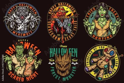 Halloween night colorful vintage logotypes Fototapet