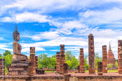 Fototapeta Ancient Buddha Statue at Sukhothai historical park, UNESCO World Heritage Site i