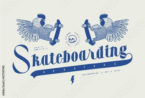 Slika na platnu Skateboarding roosters vintage typography t-shirt print.