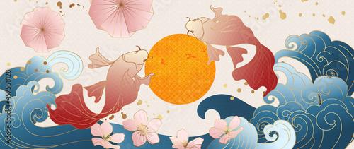 Stampa su Tela Luxury gold oriental style background vector