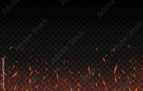 Fototapeta Vector fiery sparks on an isolated transparent background
