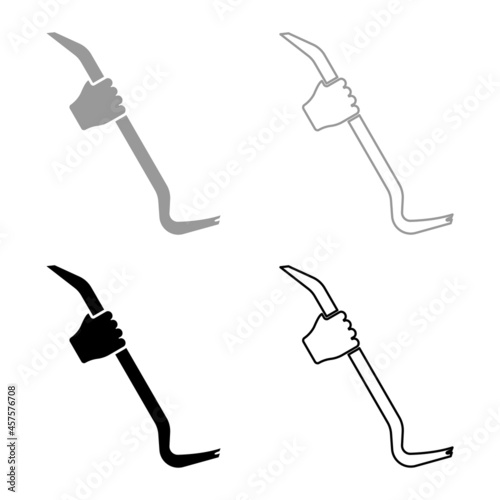 Canvas Print Crowbar in hand holding tool use Arm using Multifunctional utility bar set icon