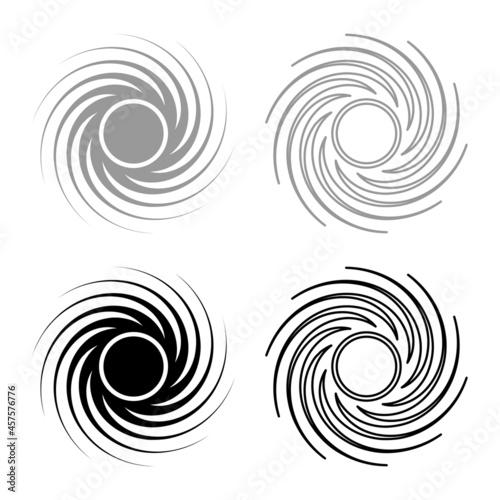 Obraz na plátne Black hole spiral shape vortex portal set icon grey black color vector illustrat