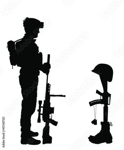 Fotografia, Obraz Comrade lost friend on battlefield
