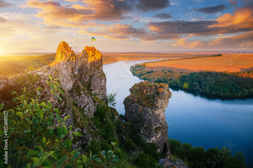 Fotografia Panoramic view of meander of the Dniester River from a bird's eye view