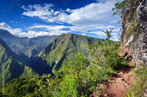 Fotografiet Sentier de randonnée en montagne - La Réunion