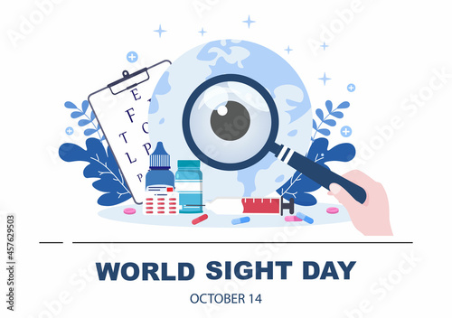 Fotografia, Obraz World Sight Day Background Vector Illustration Which is Commemorated Every Year