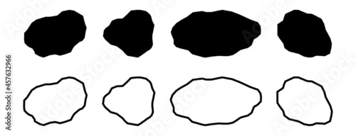 Fotografiet Black rock specimen set. Stone sample silhouette.