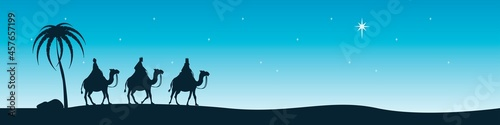 Canvas The sages from the east sit on camels and look at the Star of Bethlehem