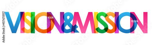 Obraz na plátně VISION & MISSION colorful vector typography banner on white background