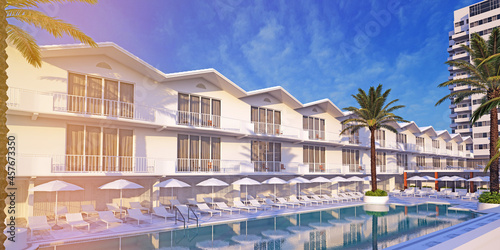 Fotografia, Obraz facade of resort townhouse with sun loungers