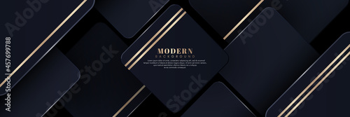 Obraz na plátně Modern abstract dark blue square metal block background with golden stripes decoration