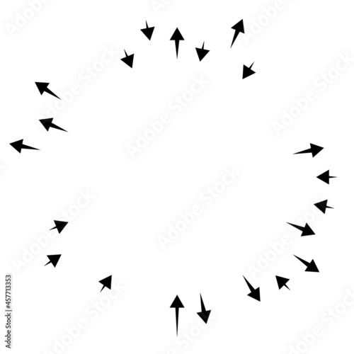 Obraz na plátně Radial, radiating arrows, pointers in opposite direction for mix, diverge concep