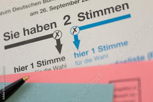 Carta da parati Wahlschein und Briefwahl zur Bundestagswahl