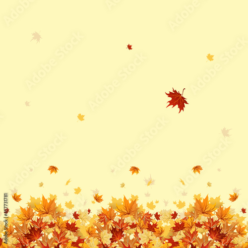 Canvas Print Autumn falling leaves in retro style with yellow background