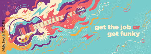 Foto Colorful abstract illustration with electric guitar and splashes
