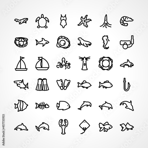 Canvas sea icon set with sea animals, diving mask, anchor line icon