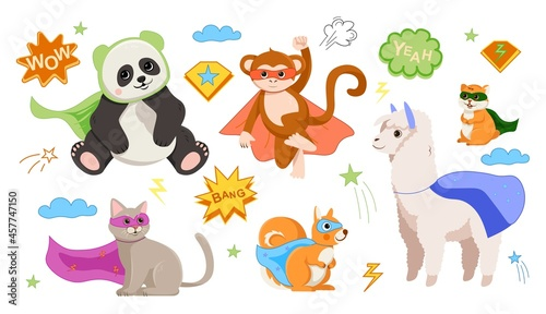 Fototapeta premium Animal superheroes concept. Set of colorful wild animal characters in masks and raincoats. Design element for sticker, poster and printing. Cartoon flat vector collection isolated on white background