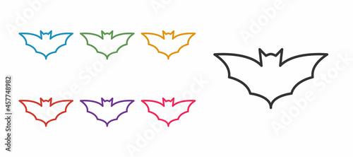 Vászonkép Set line Flying bat icon isolated on white background