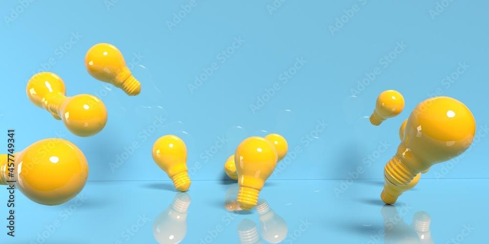 Leinwandbild Motiv - Tierney : Scattered light bulbs on a colored background - 3D render