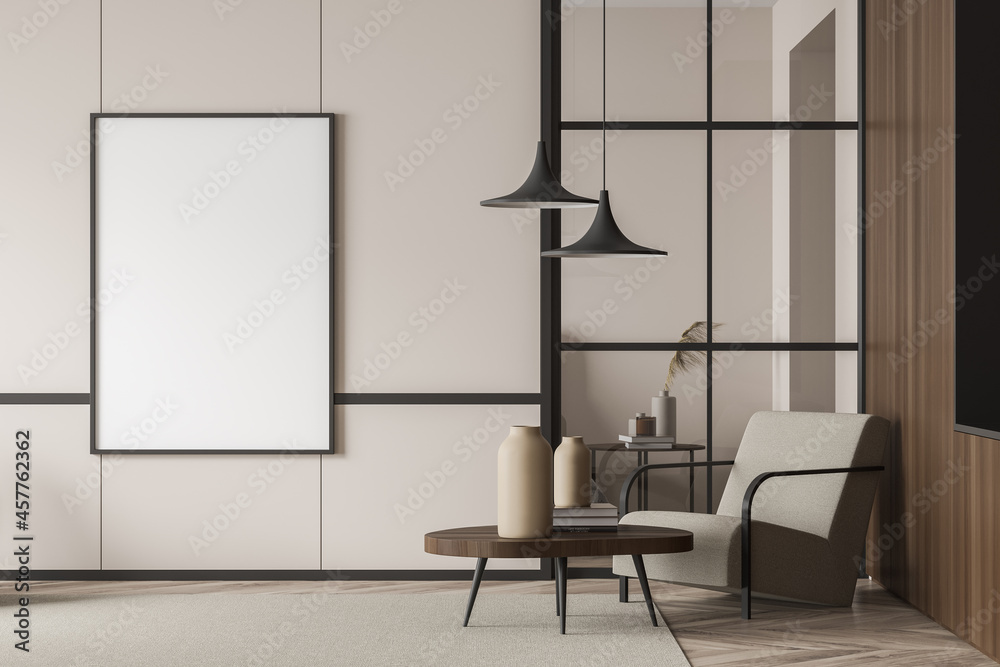 Leinwandbild Motiv - denisismagilov : Empty living room canvas near single beige armchair