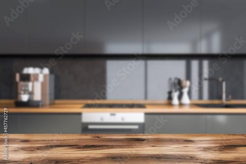 Fotografia Dark cozy kitchen room interior with good display for advertisement