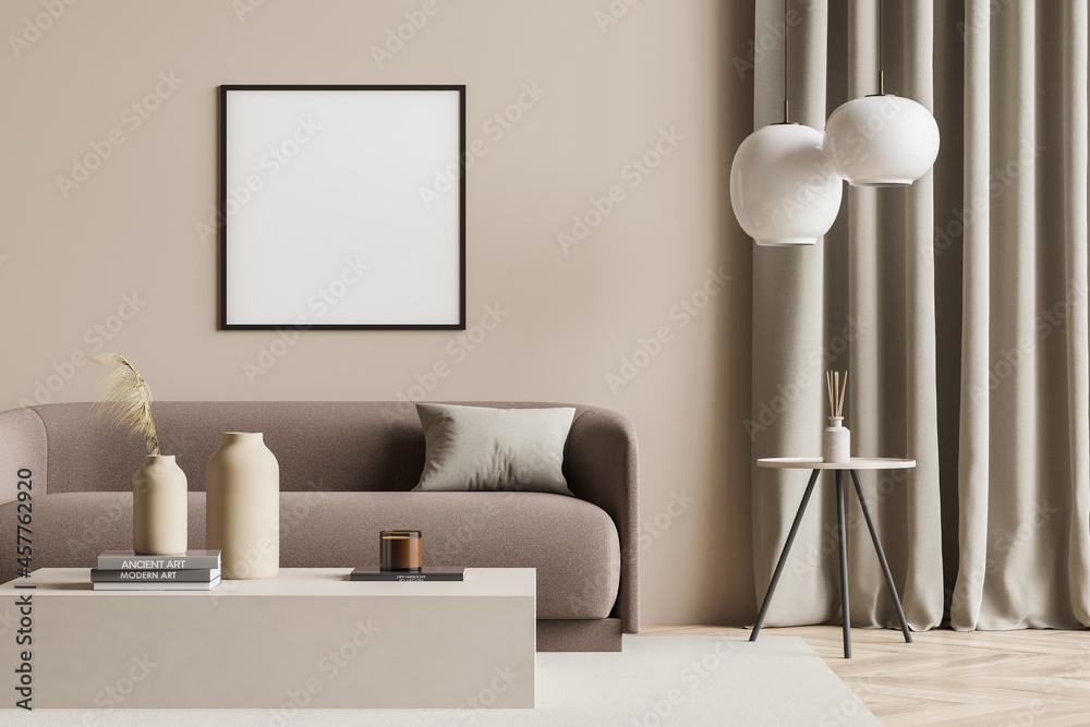 Leinwandbild Motiv - denisismagilov : Empty canvas in a beige living room with modern details