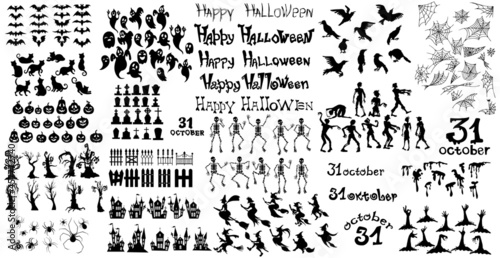 Fotografie, Obraz Big SET with elements for the holiday Halloween - Vector