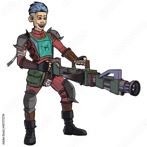 Fototapeta Vector illustration of a boy with his machine crossbow looks bored and happy to destroy everything