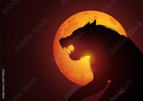 Wallpaper Mural Werewolf lurking in the night during full moon