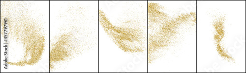 Fotografering Set of Gold Glitter Texture Isolated On White