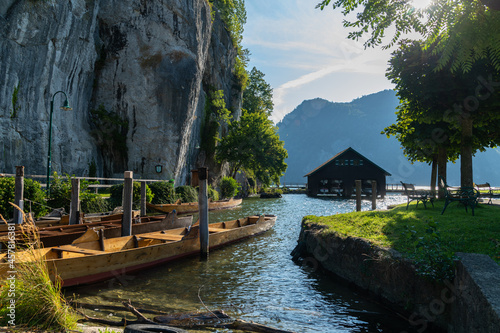 View of so-called Plätte, traditional wooden flat-bottomed boats, sitting on t Fotobehang