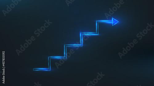 Slika na platnu Blueline step stair with an arrow
